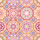 Gorgeous floral tile design. Moroccan or Mediterranean octagon tiles, tribal ornaments. For wallpaper print, pattern fills, web page background, surface textures. Textile pastel colors poster