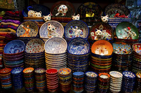 Grand Bazaar Istanbul - Colorful Ceramic Plates Souvenirs