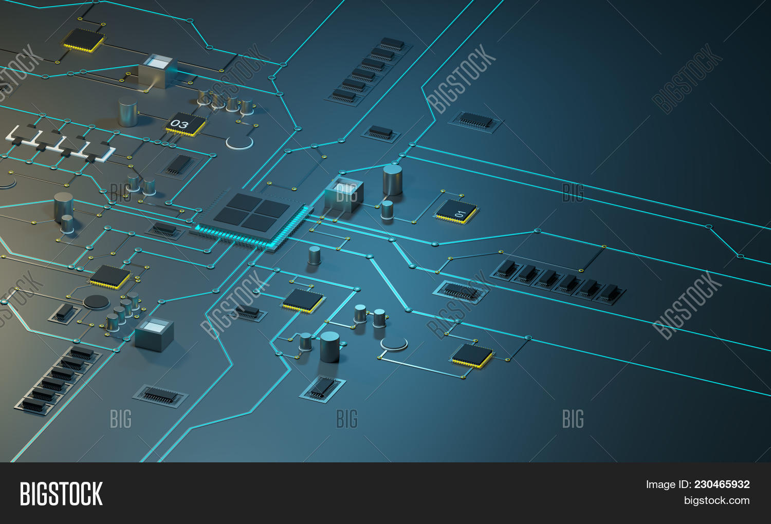 High Tech Electronic Image Photo Free Trial Bigstock Stockfoto Printed Circuit Board Pcb Used In Industrial With Processor Microchips And Glowing Digital Electr