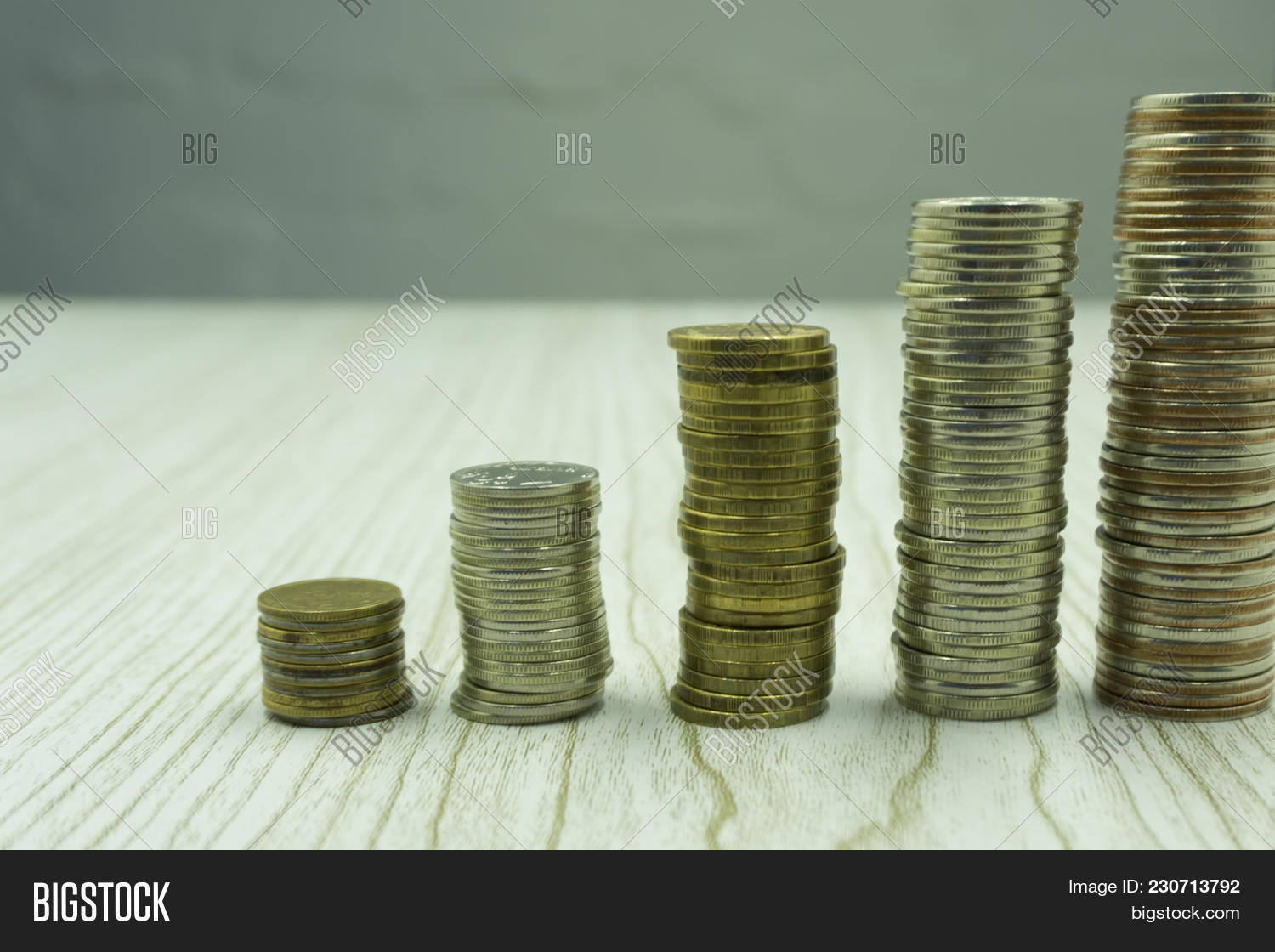 Silver Coins Columns Image Photo Free Trial Bigstock