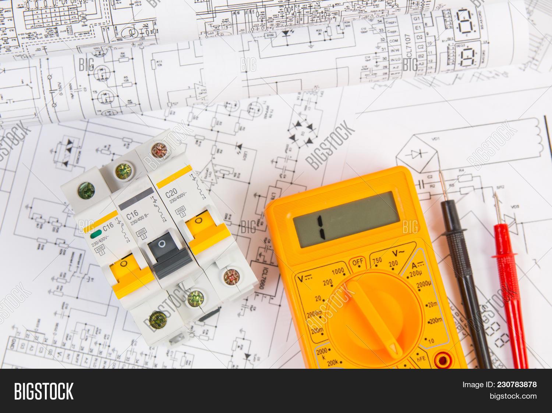 Electrical Engineering Image Photo Free Trial Bigstock Diagram Drawings Modular Circuit Breaker And Digital Multimeter Network