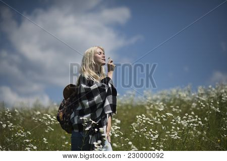 Spring, Woman In Chamomile Field. Chamomile Flower, Nature And Environment. Summer Vacation, Wanderl