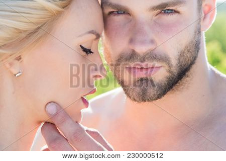 Love And Romance. Muscular Man And Woman With Long Blond Hair, Love. Relations Of Happy Family, Futu