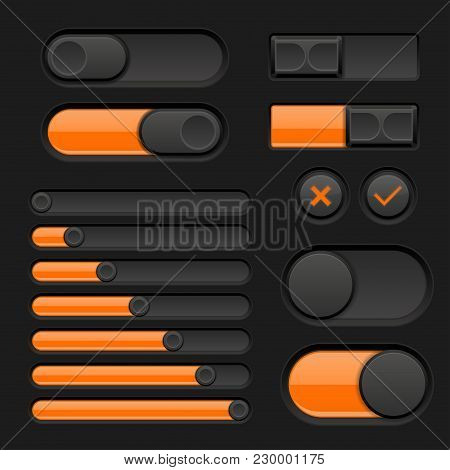 Set Of Black And Orange Interface Buttons, Sliders. Vector 3d Illustration