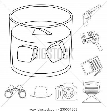 Detective And Attributes Outline Icons In Set Collection For Design.detective Agency Vector Symbol S