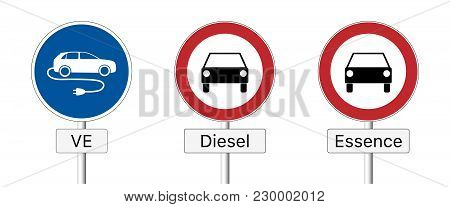 Diesel Ban. Traffic Sign Prohibiting The Use Of Diesel And Gasoline Vehicles And Permitting The Use