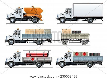 Vector Spec Trucks Set Template Isolated On White. Available Eps-10 Separated By Groups And Layers W