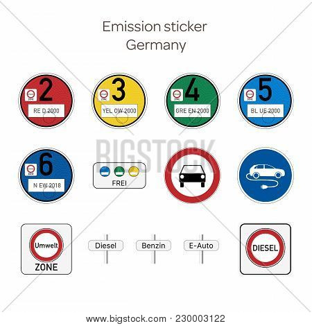 Emission Sticker. German Emission Stickers For Cars And Traffic Signs Prohibiting The Use Of Diesel