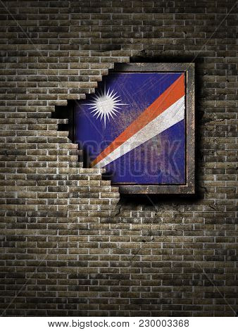 3d Rendering Of A Marshall Islands Flag Over A Rusty Metallic Plate Embedded On An Old Brick Wall