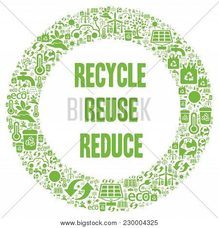 Recycle, Reuse, Reduce illustration with a white background poster
