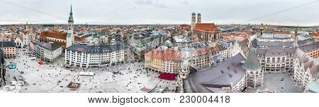 Aerial View Of The City Of Munich, Germany - All Logos And Brand Names Removed.