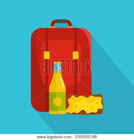 Lunch In Backpack Icon. Flat Illustration Of Lunch In Backpack Vector Icon For Web