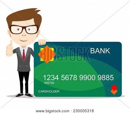 Man In Suit Shows Plastic Credit Or Debit Card, Member Card, Vip Card With Magnetic Stripped, Credit