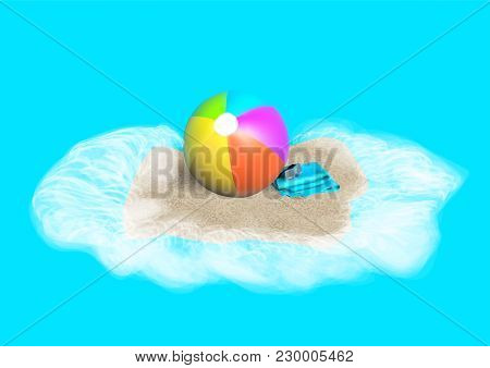 Beach Ball, Towless And Mask On Sand
