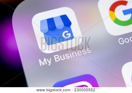 Sankt-petersburg, Russia, March 7, 2018: Google My Business Application Icon On Apple Iphone X Scree