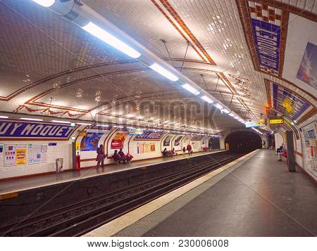 Paris, France - April 2017: Paris Metro Is One Of Largest Underground System In The World In Paris.
