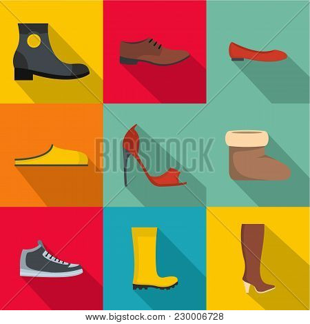 Convenient Footwear Icons Set. Flat Set Of 9 Convenient Footwear Vector Icons For Web Isolated On Wh