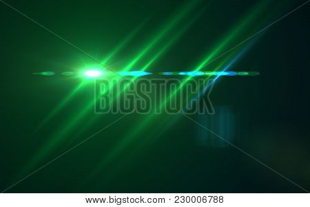 Abstract Design Natural Green Lens Flare And Rays Background.lens Flare Light Over Black Background.