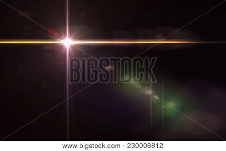 Abstract Image Of Sun Burst Lighting Flare.beautiful Digital Lens Flare In Black Background Horizont