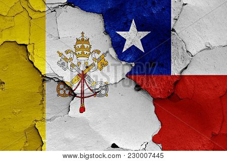 Flag Of Vatican And Chile Painted On Cracked Wall