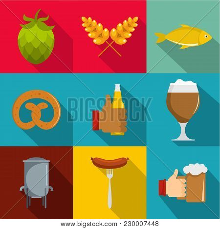 Deli Icons Set. Flat Set Of 9 Deli Vector Icons For Web Isolated On White Background
