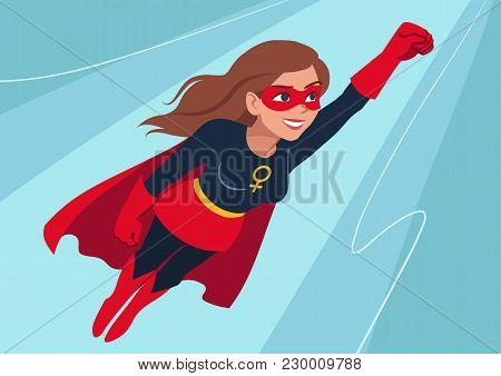 Superhero Woman In Flight. Attractive Young Caucasian Woman Wearing Superhero Costume With Cape, Fly