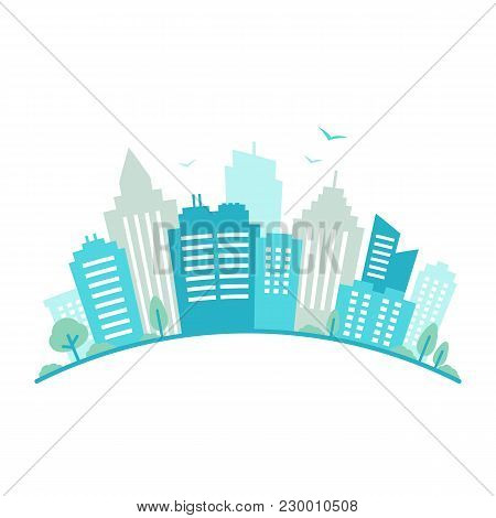 City Fisheye Lens Styled Panorama. Urban Landscape. Blue City Silhouette View. Cityscape In Flat Sty
