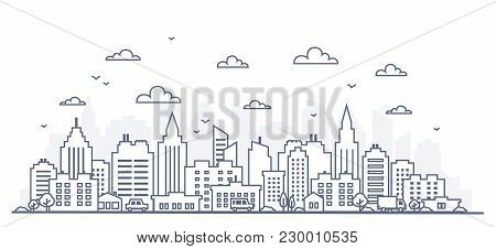 Thin Line Style City Panorama. Illustration Of Urban Landscape Street With Cars, Skyline City Office