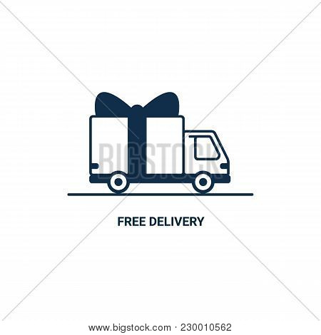 Free Delivery Line Icon. Thin Line Styled Delivery Truck With Bow Isolated On White Background. Deli