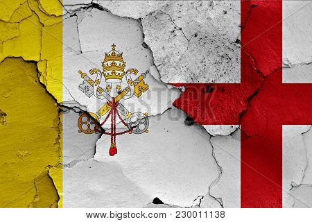 Flag Of Vatican And England Painted On Cracked Wall