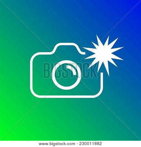 Camera Icon Vector Illustration. Isolated Photocamera With Flash Symbol. Photo Camera Line Concept.