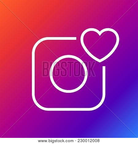 Vector Camera Icon - Camera And Heart. Editable Stroke. Eps 10