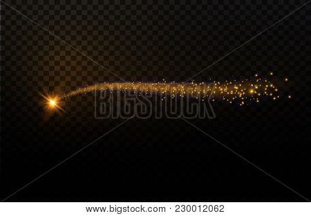 Yellow Sparks And Stars Shine With Special Light. Sparkling Magical Dust Particles. The Effect Of A