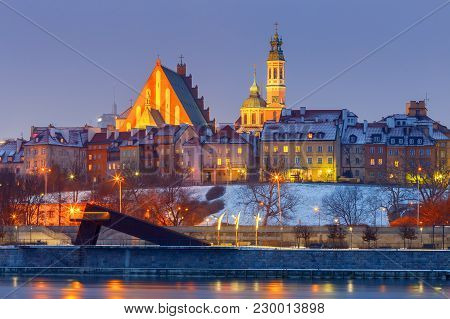 View Of The Old Town, Vistula River And The City Embankment At Sunset. Warsaw. Poland.