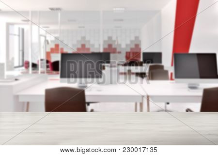 White And Red Office Interior With White Computer Tables, Black Chairs, And A White And Red. 3d Rend