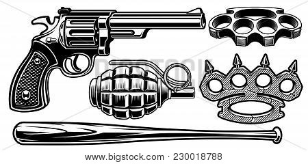 Set Of Black And White Illustrations Of Different Weapons. Isolated On White Background.