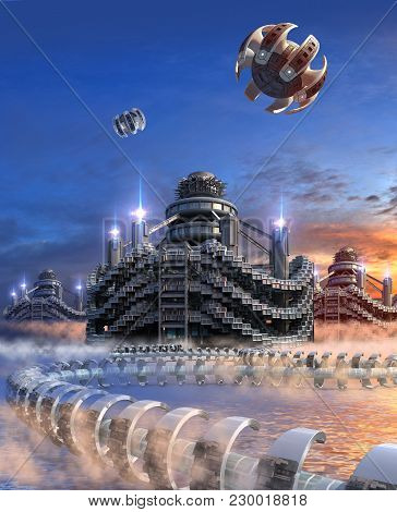 3D Illustration of a futuristic city with modular architecture, water floating transport structures and hovering drones, for science fiction and fantasy backgrounds. poster
