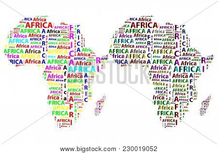 Sketch African Letter Text Continent, African Word - In The Shape Of The Continent, Map Of Continent