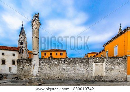 Scenic View At Old Roman Architecture In Zadar City Center, Dalmatia Region In Croatia, Europe.