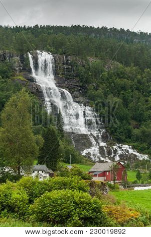 Scenic Landscape With Waterfall In Sogn Og Fjordane, Western Norway