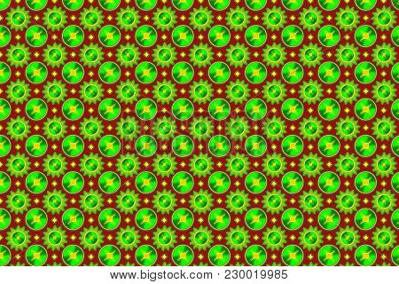 Seamless Pattern. Geometric Shapes Of Green On A Burgundy Background