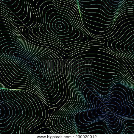 Vector Seamless Pattern, Abstract Halftone Holographic Texture, Curved Lines, Fluid Shapes. 3d Effec