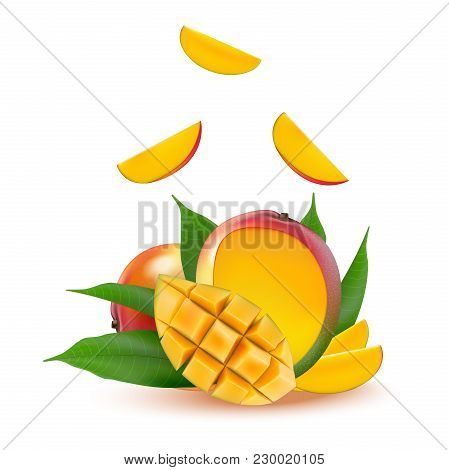 Mango Fruit For Fresh Juice, Jam, Yogurt, Pulp. 3d Realistic Yellow, Red, Orange Ripe Mango Cubes An