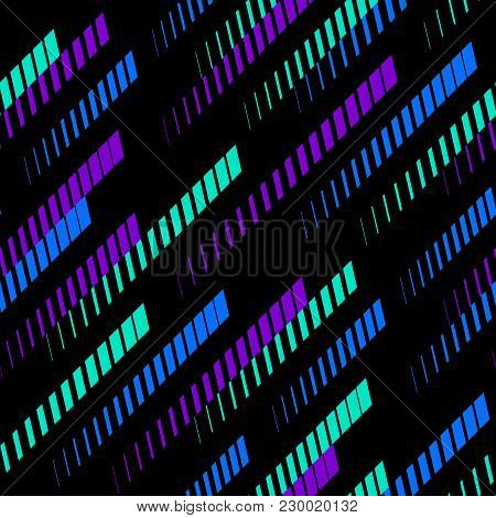 Abstract Geometric Seamless Pattern With Colorful Diagonal Lines, Tracks, Halftone Stripes. Trendy B