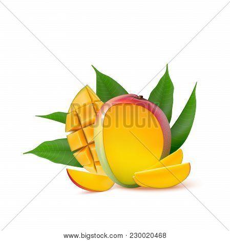 Mango Fruit For Fresh Juice, Jam, Yogurt, Pulp. 3d Realistic Yellow, Red, Orange Ripe Mango Cubes An