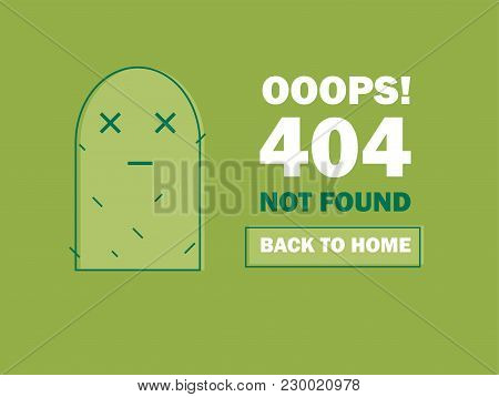 404 Error Page Or File Not Found Icon. Cute Green Cactus - Isolated Ux Ui Vector Illustration For We