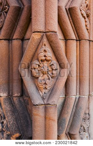 Close-up Of Decoration Element At The Entrance To Jedburgh Abbey Dated Back To 1138 And Is In Ruins