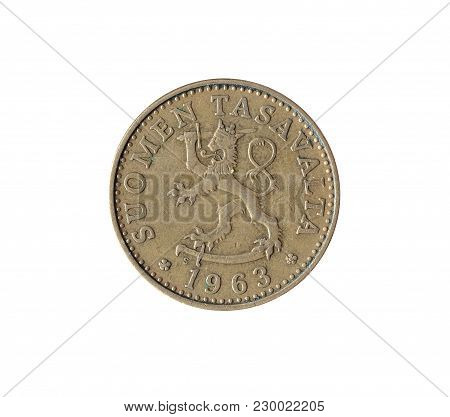 Obverse Of Vintage 50 Pennia Coin Made By Finland 1963