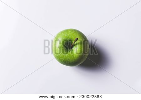Green Apple On White Background Isolated With Shadow