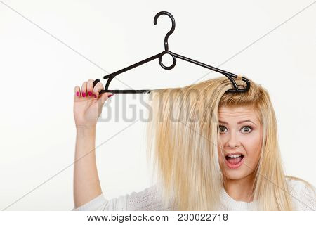 Wardrobe Accessories, Haircare, Hair Styling And Selling Concept. Blonde Woman Holding Hair On Cloth